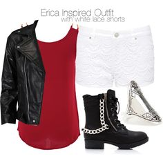 """""""Erica Inspired Outfit with White Lace Shorts"""" by veterization on Polyvore"""