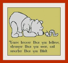 Youre braver than you believe, Winnie The Pooh From Disney, INC Cross Stitch Pattern, BOGO, PDF counted cross stitch pattern,R095