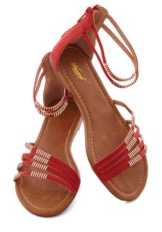 Stay in Sicily Sandal - Red, Solid, Flat, Casual, Beach/Resort, Boho, Summer