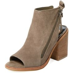 Dolce Vita Women's Petra Peep-Toe Suede Bootie - Green - Size 10 ($89) ❤ liked on Polyvore featuring shoes, boots, ankle booties, green, high heel booties, high heel ankle boots, platform boots, suede boots and green boots