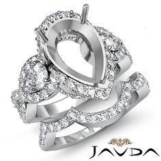 Diamond Engagement 3 Stone Ring Pear Semi Mount Bridal Set Platinum 950 2 88ct | eBay