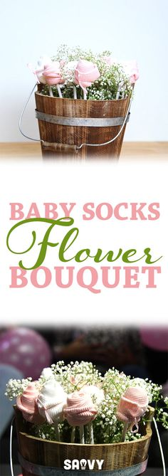 Diy baby socks flower bouquet handmade baby shower gift ideas baby sock flower bouquet negle Choice Image