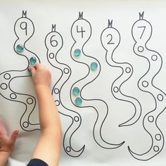"""446 Likes, 19 Comments - A Crafty LIVing • Olivia (@acraftyliving) on Instagram: """"Simple counting & number recognition activity for Preschoolers with Spotty Number Snakes! I drew…"""""""
