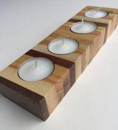 Diy decorao wood tea lights 29 Ideas for 2019 Candle Tray, Candle Holder Decor, Wooden Candle Holders, Candle Stand, Candleholders, Diy Candles, Tea Light Candles, Tea Lights, Wood Pallets