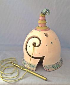 Yarn Bell by Earth Wool & Fire . I've not seen yarn bowls as bells before, how pretty