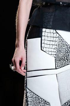 Black & white, leather segment skirt - graphic pattern construct; fashion details // Fendi