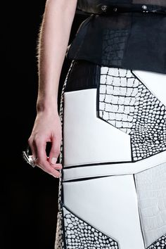 Black & white, leather segment skirt - graphic pattern construct; fashion details // Fendi