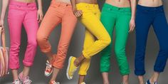 Colorful Pants. This obviously does not have huge implications for where ad dollars are going, but a fun little thing I noticed is the surge of colorful pants, especially for girls. Manhattan has turned into a denim rainbow.