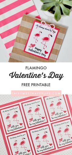 Flamingo Card | Flamingo Valentine | Free Valentine's Day Printable | Classroom Valentines | Valentines for Kids