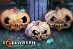 paper mache pumpkins: The weird thing is, you can make these at home with a pumpkin, paper, and glue. Creepy!