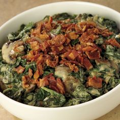 Creamed Spinach w/Applewood Smoked Bacon. I have been making this one every year for Thanksgiving - it's amazing