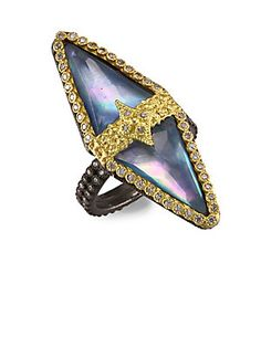 ARMENTA OLD WORLD 18K GOLD BLUE SAPPHIRE TRIANGLE RING. #armenta #