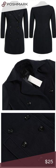 Black wool blend trench coat Nwt Black wool blend trench coat Size small. Jackets & Coats Trench Coats