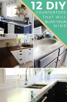 Don't like your kitchen countertops or bathroom countertops? Try one of these DIY countertop ideas to transform yours on a tiny budget! #countertops #diycountertops #kitchencounters #countertop #kitchenideas