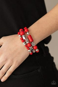 Paparazzi Accessories - Perfectly Prismatic - Red Bracelet Metal Beads, Stone Beads, Silver Beads, Paparazzi Jewelry Catalog, Paparazzi Accessories, Silver Frames, Acrylic Beads, Stretch Bracelets, Bling