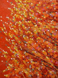 ARTFINDER: Red Sky With Autumn Leaves by Marc Todd - Created on a pre-stretched canvas with red painted sides...ready to hang unframed if preferred.