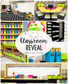 Check out this classroom reveal with the brightly colored classroom décor and the amazing classroom organization! Everything has a place! So many classroom ideas to get you organized for back to school! 2nd Grade Classroom, Classroom Setup, Classroom Design, Future Classroom, School Classroom, Kindergarten Classroom Layout, Classroom Hacks, Classroom Resources, Teacher Resources