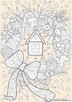 Christmas Wreath Colour Pop Colouring Page