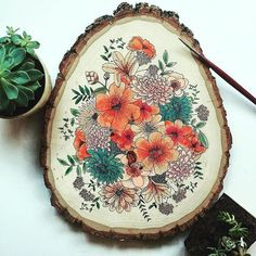 One of a kind hand painted wood slice. Each wood slice is completely original and unique, inspired by different botanical elements and flowers. Watercolor On Wood, Floral Watercolor, Painting On Wood, Gouache Painting, Painting Flowers, Wood Slices, Diy Art, Wood Art, Wood Crafts