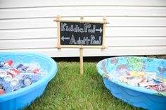 If you having a pool party how cute is this idea for beverages. Kiddy pool and Adult Pool filled with drinks for all your guest to enjoy.