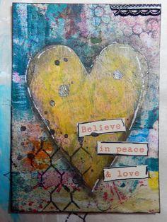 Mixed Media Heart ATC by Christy Houser