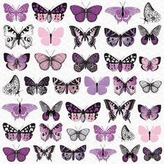 Embellish your paper crafting projects with beautiful designs using the Kaisercraft Violet Crush Collection Cardstock Stickers. This collection features an array of decorative cardstock stickers in di Butterfly Drawing, Butterfly Crafts, Butterfly Template, Nail Stickers, Planner Stickers, Beautiful Butterflies, Joanns Fabric And Crafts, Wall Collage, Handmade Crafts