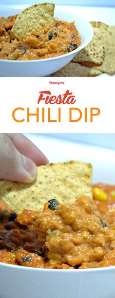 This Fiesta Chili Dip blends delicious bold flavors with wholesome ingredients for a healthy dip that satisfies the craving for something flavorful and creamy. Simply Recipes, Dip Recipes, Mexican Food Recipes, Cooking Recipes, Cooking Ideas, Food Ideas, Recipies, Snack Recipes, Appetizer Dips