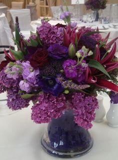 Beautiful deep purple flower arrangement, love the fullness of it