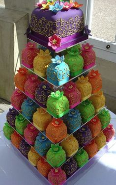 love colors and great for kids.  petite fours.  wedding cakes - just the idea, not the colors and design
