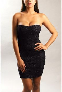 The Black Hot Sequin Strapless Dress $29.00