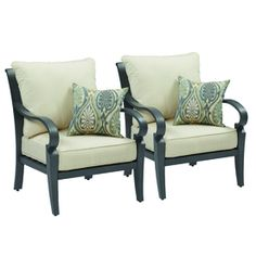 Furniture: allen + roth Set of 2 Newstead Gray Textured Aluminum Patio Chairs with Textured Brown Cushions | Lowe's