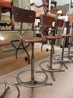 Set Of 12 French Vintage Industrial Bar Or Counter Swivel Stools   SOLD
