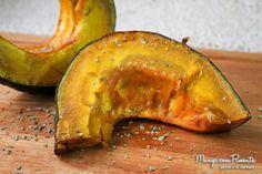 Abóbora Assada, perfeito para uma alimentação seguindo reeducação alimentar. Clique na imagem para ver a receita no Manga com Pimenta.