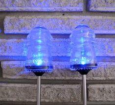 Vintage Repurposed Beautiful Hemingray Insulator Garden Or Lawn Color Changing Solar Lights on Etsy, Electric Insulators, Insulator Lights, Glass Insulators, Solar String Lights, String Lights Outdoor, Outdoor Lighting, Lighting Ideas, Outdoor Lamps, Backyard Lighting
