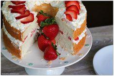 Strawberries and cream angel food cake with toasted coconut Driscoll's Strawberries #StrawberryMonth AD | Mama Harris' Kitchen