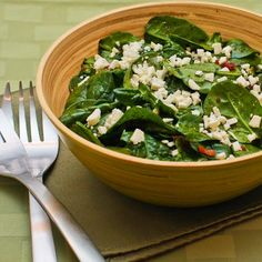 Spinach Salad Recipe with Bacon and Feta is one of my favorites, and with all that spinach I don't feel the least bit guilty about the tiny bit of bacon!  [from Kalyn's Kitchen] #LowCarb  #GlutenFree