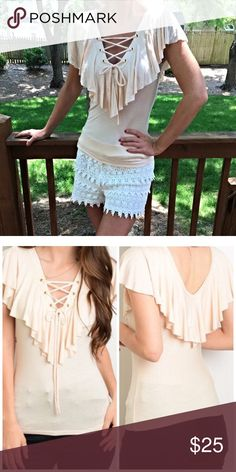 Spotted while shopping on Poshmark: Beautiful ruffle tie front top!! #poshmark #fashion #shopping #style #Tops