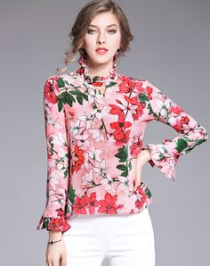 #AdoreWe #VIPme Blouses & Shirts - LVENZSE Red All Over Floral Print Ruffle Sleeve Silk Shirt - AdoreWe.com