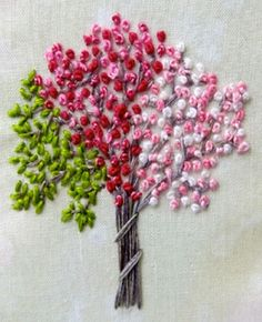 tree with a lot of french knots crafty-goodness