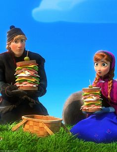 """A funny still of Kristoff and Anna in Olaf's imagination as he sings Summer. Hee hee! """"And you guys will be there tooooooo."""" (: Frozen"""