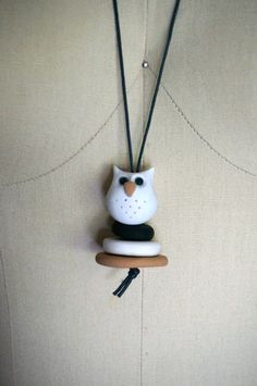 Hand made polymer clay Necklace Owl