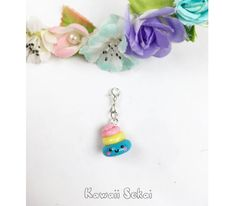 Cute Rainbow Poop Colorful Polymer Clay Charms Keychain/Phone Plug/Pendant for Bracelet or Necklace by KawaiiSekaiiWorkshop on Etsy