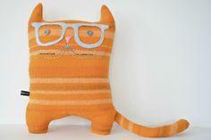 Big Glasses Statement Hipster Cat Cushion