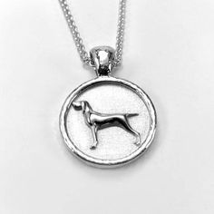 Bracco Italian Pointer or Hunting Dog Pendant Necklace Horse Jewelry, Animal Jewelry, Pointer Dog, Hunting Dogs, Braided Leather, Sterling Silver Chains, Gun, Pendant Necklace, Products