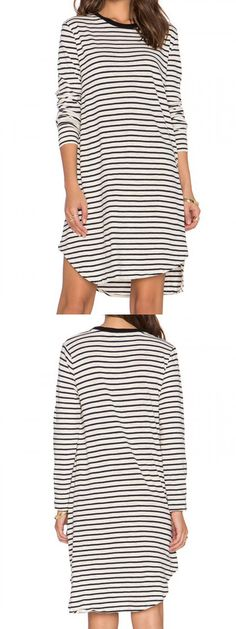Black And White Striped Long Sleeve Shift Dress