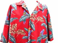 Paradise Found Hawaiian Men's Shirt 2XL Parrots Palms Red Jungle Birds #ParadiseFound #Hawaiian