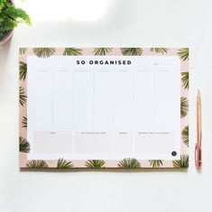 Buy Desk Planner So Organised - Pages) online and save! Desk Planner So Organised – Pages) An desk planner to help you get oh so organised. With a blush pink and green palm leaf print border, ea. Buy Desk, Work Goals, Christmas Interiors, Desk Pad, Paper Plane, Study Motivation, Desk Organization, Leaf Prints, Pink And Green