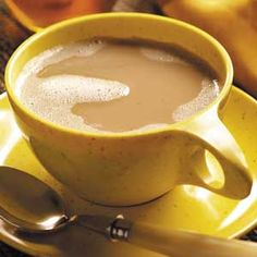 Honey Coffee Recipe- coffee, milk, honey, cinnamon, nutmeg, vanilla.