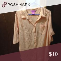 Orangish Peach top with buttons Orangish peach top with buttons with 3/4 sleeve which can be made shorter (NWOT) Woman Within Tops Button Down Shirts