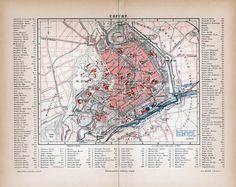 Vintage Bilder - Erfurt Stadtplan ca. 1885 - ein Designerstück von machinatemporis bei DaWanda